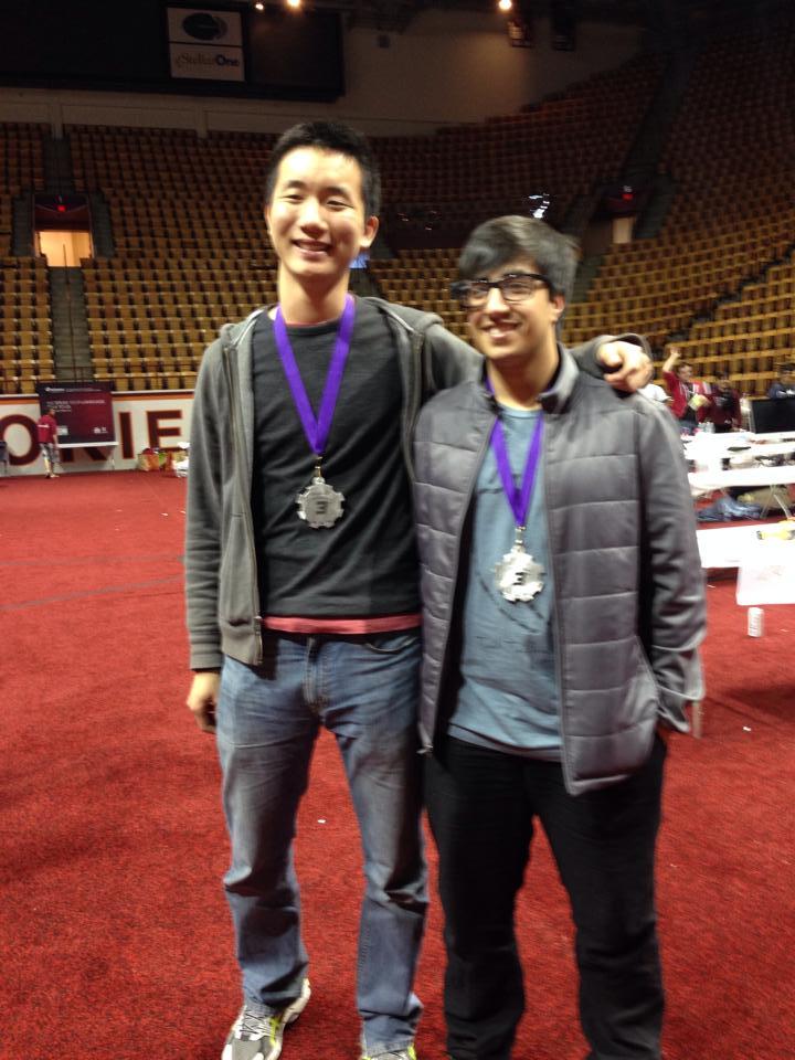 Chris Wang and Pav Thukral 3rd place, VTHacks