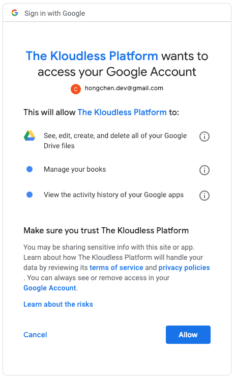 Authenticate users' cloud accounts with custom OAuth scopes - Kloudless
